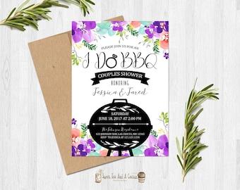 I do BBQ Invitation Purple Floral Wedding Shower Bridal Shower Invites Summer Spring Cookout Grill Bar-B-Que Invitations