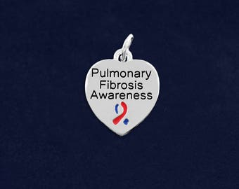 10 Pulmonary Fibrosis Awareness Heart Charms in a Bag (10 Charms) (HRTC-02-33PF)