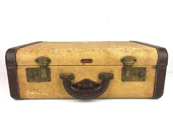 Items similar to SALE-Tweed Suitcase Vintage Tweed Suitcase 1940's ...