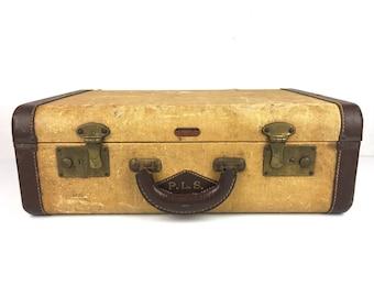 Vintage Suitcase Vintage 1940s Luggage Suitcase Tweed Suitcase Vintage Tweed Suitcase Small Mid Century Suitcase