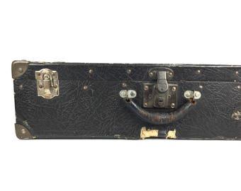 Vintage 1940s Suitcase Vintage Faux Leather Luggage Suitcase Old 1940s Black Leather Suitcase Old Vintage Black Lightweight Suitcase