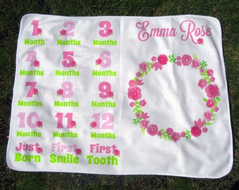 Personalized Monthly Baby Blanket with Flowers - Girls Floral Growth Chart Blanket - Baby Month Blanket - Baby Photo Prop - Baby Shower Gift