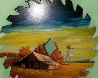 Fall Barn Scene on Saw Blade