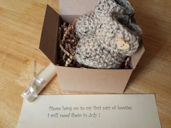 Baby Booties Grandparent Pregnancy reveal Baby announcement Baby Ugg Boots Crochet booties