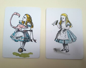 ACEO Alice in Wonderland set, original hand stamped and tinted, Drink Me bottle and flamingo croquet ATC art card