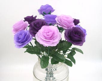 Purple Silk Flower Rose Bush with 15.7'' Stems,Fake Artificial Fabric Rose Bouquet,Wedding Aisle decor,Silk Flowers,Floral Centerpieces