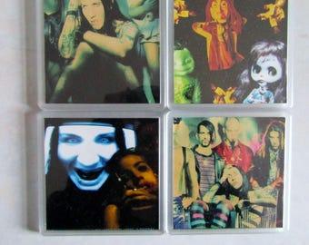Marilyn Manson Coasters - Set of 4 DIY Heavy Metal Drinkware 1a