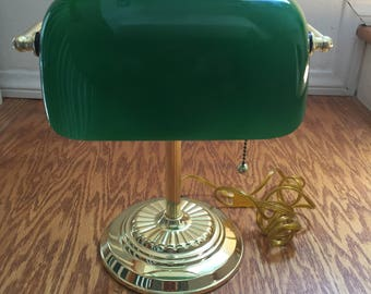 Vintage Brass & Green Glass Shade Banker Table Lamp