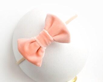 Peach Velvet Bow