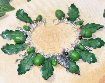 Cernunnos Sacred Oak Bracelet - Pagan Jewellery, Wicca, Horned God, Pan, Herne