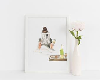 Wine Down (Fashion Illustration Print)