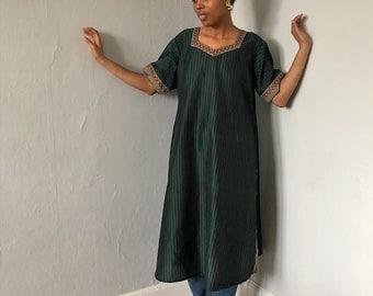 Vintage 1970s Green Striped Tunic Dress