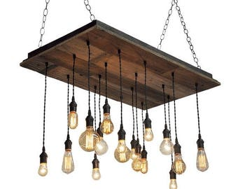 FLASH SALE Reclaimed Wood Chandelier - Edison Bulb Pendants, Bare Bulb Pendant Chandelier, Barnwood Lighting