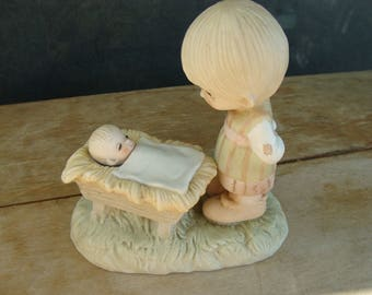 Precious Moments Figurine Come Let Us Adore Him Original No Mark Enesco Boy With The Baby In The Manger E-2011 1978