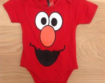 Printed Baby One-sie- Elmo / Red