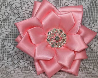 Pink Satin Accessories- Roses & Bows-Brooch; Wrist Corsage; Hair Clip; Shoeclips-Wedding, Spring, Easter,Special Occasion