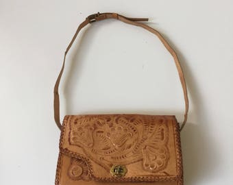 Vintage Tooled Leather Shoulder Bag