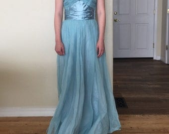 Vintage 1950s Prom Dress Fred Perlberg Strapless Light Blue