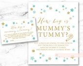 How big is mummy's tummy Printable Sign and Cards, Twinkle Little Star Mint Gold, gender neutral shower, DIY, INSTANT DOWNLOAD, 006