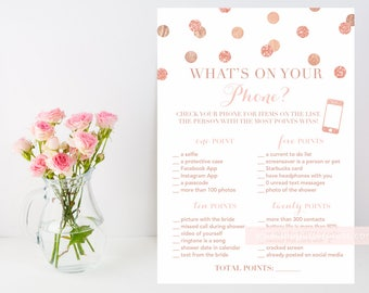 What's on your phone? Rose Gold glitter confetti printable shower game, blush pink and gold, phone shower game, INSTANT DOWNLOAD 008