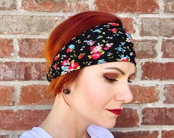 Floral Headband, Red Blue Floral Headwrap, Turban, Knot, Women's Headwrap, Yoga, Running, Fitness, Head Wrap, Hair Wrap, Black Headband