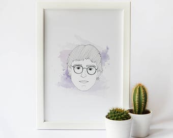 Louis Theroux Print · Louis Theroux Minimal Illustrated Print · TV Documentary Louis Theroux Portrait Print