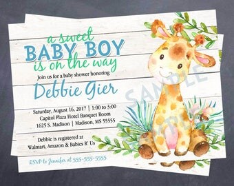 Printable Baby or Adoption Shower Invitation - Watercolor - Giraffe