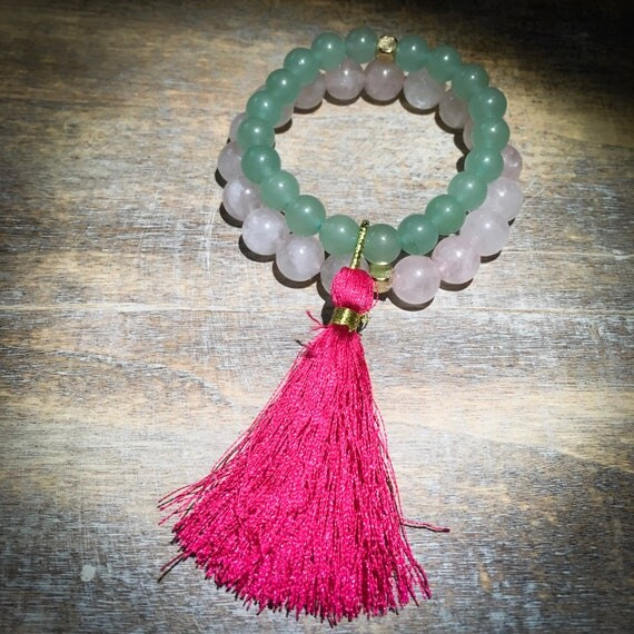 Mini wrist mala beaded bracelet stack with tassel: rose quartz & aventurine (mens, womens, unisex, kids)