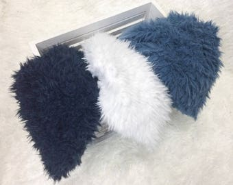 "Denim FLOKATI , 18"" x  30"", Newborn Baby Photo Prop, Flokati Look, Faux Sheep Fur, Luxury Photo Prop,"