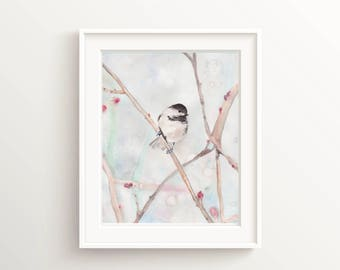 Bird Painting Prints, Dining Room Wall Art, Chickadee Watercolor Print, Bird Prints, Chickadee Art Bird Lover Gift, Watercolour Print Gifts