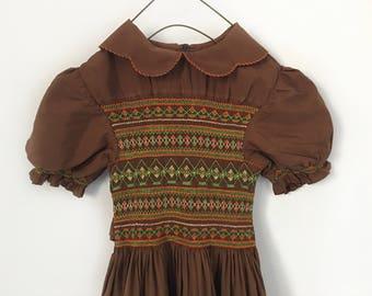 Vintage Smocked Dress, Girls Smocked Dress Girls Party Dress, Vintage Girl Clothing, Girls Fall Dress, Vintage Girls Handmade Dress