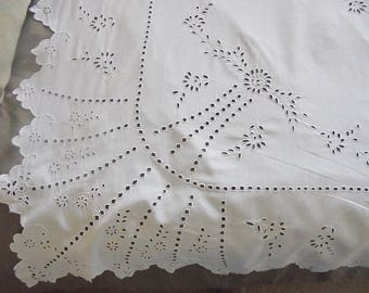 """Antique White work Embroidery Tablecloth - Hand Worked - 64"""" x 62"""""""