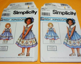 UNCUT Simplicity 8677 DAISY KINGDOM Girl's Dress and Doll Dress for 18'' Doll  1999