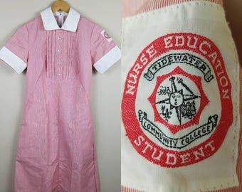 1970s 1980s nurse student uniform dress red and white