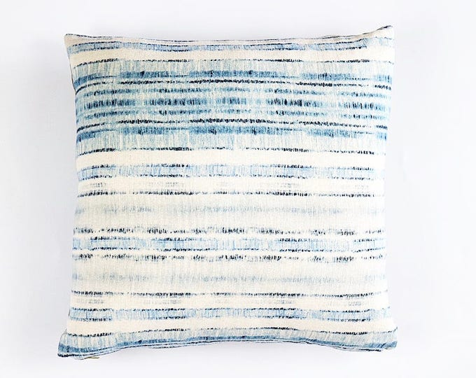 READY TO SHIP Belgian Linen Indigo and Blue Tribal Textile Pillow Cover 18x18
