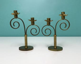 Vintage Pair of Brass Candle Holders with a Spiral Design