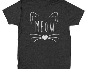 Meow Heart Cute Kitten Cat Outfit Tee Top Men's Tri-Blend T-Shirt DT1573