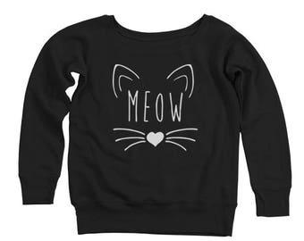Meow Heart Cute Kitten Cat Outfit Tee Top Women's Off-Shoulder Sweatshirt DT1573