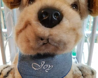 Personalized Embroidered Dog Bandana from Recycled jeans