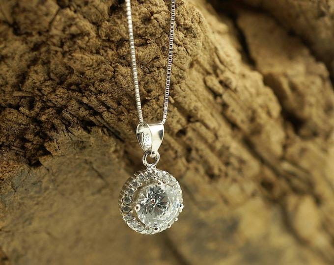 Fashion necklace-Zirconia Pendant -Gold Pendant -Women Jewelry-Anniversary gift-Zircon Statement- Wedding Necklace-Graduation gift-For her