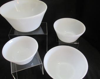 Federal glass white nesting mixing  bowls set of 4 Mid Century
