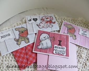 "Valentine's Day set of 4 doggie cards, woodgrain, pink, red, gray, black, white, glitter, 3-1/2 x 5"", w/ coordinating envelopes."