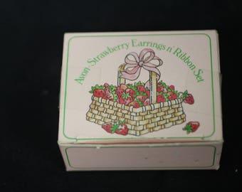 Avon Strawberry Earrings n' Ribbon Set  (1984)
