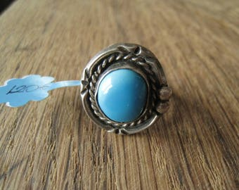 Sterling Silver Navajo Braided Turquoise Ring Size 7.25 (1206)