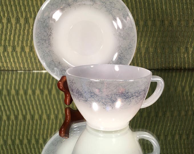 Set of Three Fireking Iridescent Scribble Tea Cups and Saucers, Excellent condition
