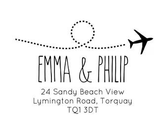 "Airplane / Aeroplane Address Stamp, Personalised Return Address Stamp, New Home Destination, DIY Stamp, 3""x2"" (cas114)"