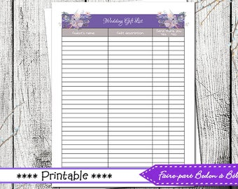 Wedding Gift list - wedding printable - wedding - gift list - printable list - digital printable