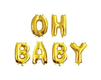 """Baby Shower Balloon Banner, 16"""" OH BABY Balloon, Baby Shower Decoration, Letter Balloons, Balloon Banner, Gold Letter Balloons"""