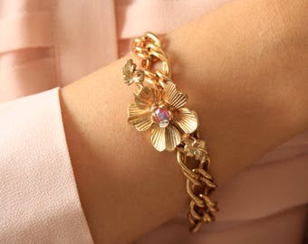 Gold Glower Chain Bracelet - Red Crystal Flower Bracelet - Statement Gold Bracelet