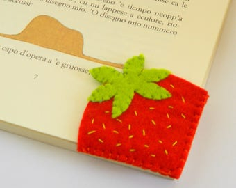 Strawberry slice Bookmark, Felt Bookmark, Corner Bookmark, Embroidered Bookmark, Fresh Fruits Bookmark, Back to school gift
